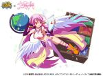 1girl angel_wings book bookshelf breasts copyright_name crop_top feathered_wings fullbokko_heroes globe gloves gradient_hair halo jibril_(no_game_no_life) large_breasts long_hair low_wings magic_circle midriff mismatched_legwear multicolored multicolored_eyes multicolored_hair navel no_game_no_life official_art open_mouth orange_eyes pink_hair shoes sideboob single_shoe smile solo stomach tablet_pc tattoo very_long_hair white_wings wing_ears wings yellow_eyes