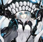 1girl black_gloves blue_eyes bodysuit cape commentary_request fengya gloves glowing glowing_eye hat kantai_collection looking_at_viewer monster pale_skin pointing pointing_at_viewer shinkaisei-kan short_hair solo staff tentacle white_hair white_skin wo-class_aircraft_carrier