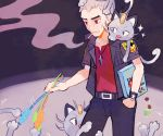 1boy alolan_form alolan_meowth belt black_pants black_shirt buckle cat cat_teaser cigarette claws collarbone commentary_request grey_hair hand_in_pocket island_kahuna kuchinashi_(pokemon) leg_hug male_focus meowth mouth_hold pants pokemon pokemon_(creature) pokemon_(game) pokemon_on_shoulder pokemon_sm red_eyes red_shirt ryokuno_green serious shirt short_sleeves smoke smoking standing