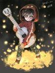 1boy acoustic_guitar black_hair brown_eyes coco_(disney) dark_skin disney flower guitar highres hood instrument marigold miguel_rivera music petals playing_instrument short_hair skull smile solo