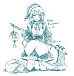 1girl :d axe bangs bell blush bow bowtie buttons character_request crescent dated eyebrows_visible_through_hair hat highres holding holding_axe holding_weapon kneeling looking_at_viewer maid merry_christmas monochrome open_mouth santa_hat short_hair simple_background smile solo touhou touhou_(pc-98) wadante weapon white_background