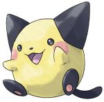 :d baby_pokemon beta_pokemon black_eyes blush blush_stickers commentary creature english_commentary etherealhaze full_body no_humans open_mouth pichu pokemon pokemon_(creature) pokemon_gsc_beta sitting smile solo tongue tongue_out transparent_background white_background