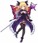 1girl bangs black_bow black_cape black_legwear black_panties blonde_hair blue_cape blush bow breasts butterfly_wings cape cleavage closed_mouth copyright_request dress eyebrows_visible_through_hair full_body hair_between_eyes hair_bow head_tilt heijialan high_heels holding holding_staff long_hair looking_at_viewer medium_breasts multicolored multicolored_cape multicolored_clothes orb panties pointy_ears purple_dress purple_footwear shoes simple_background smile solo staff standing standing_on_one_leg thigh-highs two_side_up underwear violet_eyes white_background wings