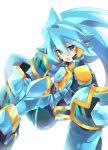 1boy blue_armor blue_eyes blue_hair blue_pants highres light_blue_hair looking_at_viewer open_mouth pants rento_(rukeai) saikyou_ginga_ultimate_zero_~battle_spirits~ simple_background solo spiky_hair white_background zero_the_azure