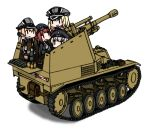 4girls bismarck_(kantai_collection) chibi ground_vehicle iiyatsu_(stormtrooperh) kantai_collection military military_vehicle motor_vehicle multiple_girls prinz_eugen_(kantai_collection) self-propelled_gun short_hair tank wespe_spg white_background z1_leberecht_maass_(kantai_collection) z3_max_schultz_(kantai_collection)