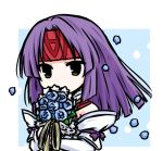 1girl alternate_costume blue_flower bouquet dress fire_emblem fire_emblem:_souen_no_kiseki fire_emblem_heroes flower headband holding holding_bouquet long_sleeves medium_hair petals purple_hair purple_ribbon red_headband ribbon sanaki_kirsch_altina solo tenmaru upper_body wedding_dress white_dress
