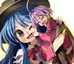 2girls ;d ahoge bangs barefoot blue_hair blush bowl bowl_hat closed_eyes commentary_request dutch_angle eyebrows_visible_through_hair hair_between_eyes hand_on_another's_back hand_on_another's_face happy hat hinanawi_tenshi japanese_clothes kimono lifting_person long_hair looking_at_viewer minigirl multiple_girls obi one_eye_closed open_mouth purple_hair red_eyes sash shirt shope short_hair simple_background smile sukuna_shinmyoumaru tears torn_clothes torn_sleeves touhou upper_body very_long_hair white_background white_shirt