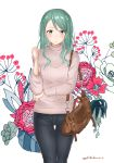 1girl alternate_costume bag bang_dream! closed_mouth cowboy_shot denim elbow_on_arm floral_background flower_request green_eyes green_hair hand_up handbag hikawa_sayo jeans long_hair pants ribbed_sweater shoulder_bag solo sweater t7s-kuroro thigh_gap twitter_username white_background