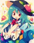 :d apron blouse blue_hair blue_skirt blush bow bowtie eighth_note food frills fruit hat hinanawi_tenshi leaf long_hair mina_(sio0616) musical_note neck_ribbon open_mouth peach puffy_short_sleeves puffy_sleeves red_bow red_eyes ribbon shirt short_sleeves skirt smile touhou white_shirt