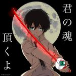 1boy bangs black_hair blue_eyes collared_shirt commentary_request darling_in_the_franxx grey_shirt hiro_(darling_in_the_franxx) holding holding_sword holding_weapon jacket kiasa20 looking_at_viewer male_focus moon necktie open_clothes open_jacket parody shirt short_hair signature solo soul_eater sword translation_request weapon white_jacket white_neckwear wing_collar zero_two_(darling_in_the_franxx)