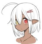 1girl ahoge closed_mouth dark_skin elf hair_ornament hairclip heterochromia looking_at_viewer malice_stella nude original pointy_ears portrait red_eyes simple_background solo white_background white_hair yellow_eyes