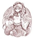 1girl bangs bow bowtie character_request closed_mouth detached_sleeves eyebrows_visible_through_hair hair_between_eyes hat long_hair monochrome one_side_up ribbon-trimmed_sleeves ribbon_trim skirt sleeves_past_fingers smile solo star touhou touhou_(pc-98) twitter_username wadante