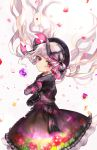 1girl ace_of_hearts bangs beret black_bow black_capelet black_dress black_gloves black_hat blush bow capelet closed_mouth commentary_request cookie dress elbow_gloves eyebrows_visible_through_hair fate/extra fate_(series) floating_hair flower food food_print fur-trimmed_capelet fur_trim gloves gothic_lolita hat hat_bow heart highres juu_ame lolita_fashion long_hair mushroom_print nursery_rhyme_(fate/extra) petals pixiv_fate/grand_order_contest_2 playing_games print_dress purple_flower silver_hair solo striped striped_bow very_long_hair violet_eyes