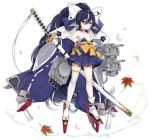 1girl azur_lane bangs bare_shoulders black_footwear black_hair blue_eyes blue_kimono blue_skirt blush cannon closed_mouth crescent detached_sleeves egasumi eyebrows_visible_through_hair hair_between_eyes high_ponytail holding holding_sheath japanese_clothes katana kimono long_hair long_sleeves maya_g official_art platform_footwear pleated_skirt ponytail ribbon-trimmed_sleeves ribbon_trim rudder_shoes sheath sheathed short_kimono skirt socks solo strapless sword tabi turret very_long_hair weapon white_background white_legwear wide_sleeves yoizuki_(azur_lane) zouri