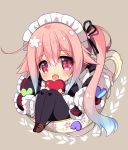 1girl :d apron bangs black_dress black_legwear blue_hair blush brown_background brown_footwear chibi commentary_request cup dress eyebrows_visible_through_hair frilled_apron frills gradient_hair hair_between_eyes hair_flaps harusame_(kantai_collection) heart holding holding_heart in_container in_cup kantai_collection loafers long_hair long_sleeves looking_at_viewer maid maid_headdress multicolored_hair open_mouth pantyhose pink_hair ringo_sui shoes side_ponytail sidelocks sitting smile solo teacup very_long_hair violet_eyes white_apron