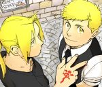 2boys alphonse_elric antenna_hair black_shirt blonde_hair brothers edward_elric english expressionless fingernails flamel_symbol fullmetal_alchemist happy long_hair looking_at_viewer looking_up male_focus multiple_boys necktie nore_(boosuke) ponytail shirt short_hair siblings sign smile standing upper_body v waistcoat white_shirt yellow_eyes