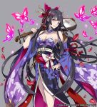 1girl bangs bell black_hair black_ribbon bow breasts bug butterfly cleavage commentary_request detached_collar detached_sleeves fingernails flute grey_background hair_bell hair_ornament hairpin hand_up holding holding_instrument icchi_banketsu insect instrument japanese_clothes jingle_bell kimono large_breasts long_hair long_sleeves looking_at_viewer nail_polish obi parted_lips pink_bow pink_eyes pink_nails pokimari purple_kimono red_ribbon ribbon sash simple_background smile solo standing very_long_hair watermark white_bow wide_sleeves