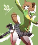 brown_eyes brown_hair eeteru jacket persona persona_4 raccoon_ears raccoon_tail satonaka_chie school_uniform short_hair skirt socks tail tanuki track_jacket