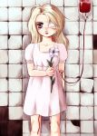 bandage bleeding blonde_hair blood blue_eyes child dress eyepatch flower intravenous_drip iv lily lily_(flower) loli long_hair messiah(artist) messiah_cage mystic_cage standing tile