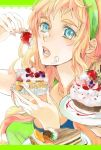 blonde_hair cake food fruit hairband headband holding holding_fruit macross macross_frontier mooche pastries pastry sheryl_nome strawberry