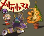 blonde_hair blue_eyes bullying cannon christmas christmas_tree hat kin_niku long_hair ponytail rockman rockman_(classic) rockman_(original) roll santa_costume santa_hat translated vava