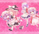 between_fingers blush book carrying chibi dress fang hat izayoi_sakuya kirisame_marisa knife mary_janes neme one_shoe patchouli_knowledge princess_carry purple_eyes red_eyes remilia_scarlet shoes single_shoe smile socks super_deformed take_it_home touhou violet_eyes wings witch_hat yuri