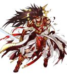 1boy armor brown_eyes brown_hair bruise cuts damaged feathers fire_emblem fire_emblem_heroes fire_emblem_if gloves highres holding holding_sword holding_weapon injury katana kita_senri long_coat long_hair male_focus mask official_art pants raijintou_(sword) red_armor ryouma_(fire_emblem_if) sheath simple_background solo spiky_hair sword torn_clothes torn_coat torn_pants very_long_hair weapon white_background white_coat white_pants