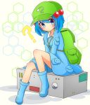 1girl ? backpack bag bangs blue_dress blue_eyes blue_footwear blue_hair blush boots closed_mouth commentary_request dress eyebrows_visible_through_hair full_body green_hat hair_bobbles hair_ornament hat highres inon kawashiro_nitori key looking_at_viewer pouch sitting solo touhou