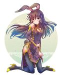 1girl animal_ears brown_eyes brown_hair bunny_tail china_dress chinese_clothes cleavage_cutout commentary detached_sleeves dress high_heels highres iesupa rabbit_ears rwby tail thigh-highs velvet_scarlatina