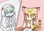 1girl animal_ears bare_shoulders blonde_hair blush bow bowtie cat_ears drawing elbow_gloves eyebrows_visible_through_hair gloves highres hood hoodie kemono_friends multicolored_hair ouka_(yama) paper pencil sand_cat_(kemono_friends) short_hair snake_tail tail tsuchinoko_(kemono_friends) vest