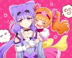 2girls :< :d ^_^ ^o^ aisaki_emiru bangs bare_shoulders blunt_bangs blush bow brown_hair butterfly_hair_ornament choker closed_eyes closed_mouth commentary_request double_bun dress elbow_pads eyebrows_visible_through_hair flower gloves hair_bow hair_flower hair_ornament hairband hug hug_from_behind hugtto!_precure long_hair looking_away low_twintails multiple_girls nonowa open_mouth polka_dot polka_dot_background precure puffy_sleeves purple_hair ruru_amour smile speech_bubble spoken_face translated twintails upper_body uta_(yagashiro25) violet_eyes