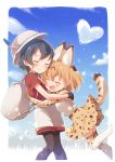 2girls :d ^_^ animal_ears backpack bag belt black_hair black_legwear blonde_hair blue_sky blush bow bowtie buchi_(y0u0ri_) closed_eyes clouds commentary day elbow_gloves extra_ears frame gloves hat_feather heart high-waist_skirt highres hug kaban_(kemono_friends) kemono_friends multicolored multicolored_clothes multicolored_gloves multiple_girls open_mouth out_of_frame outdoors pantyhose print_gloves print_neckwear print_skirt red_shirt sandstar serval_(kemono_friends) serval_ears serval_print serval_tail shirt short_hair short_sleeves shorts skirt sky sleeveless sleeveless_shirt smile tail thigh-highs white_gloves white_legwear yellow_gloves yellow_legwear yellow_neckwear yellow_skirt yuri