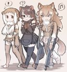 ! 3girls ? animal_ears apron arm_sling australian_devil_(kemono_friends) bare_shoulders black_hair bow bowtie cast commentary_request crutch detached_sleeves elbow_gloves eye_contact eyebrows_visible_through_hair eyepatch fingerless_gloves fur_collar gloves japanese_otter_(kemono_friends) japanese_wolf_(kemono_friends) kemono_friends light_brown_hair long_hair long_sleeves looking_at_another medical_eyepatch multicolored_hair multiple_girls musical_note neck_brace neckerchief one-piece_swimsuit otter_ears otter_tail plaid plaid_skirt pleated_skirt short_hair skirt spoken_exclamation_mark spoken_musical_note spoken_question_mark swimsuit tail tanaka_kusao tasmanian_devil_ears tasmanian_devil_tail thigh-highs toeless_legwear vest white_hair wolf_ears wolf_tail