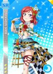 blush character_name dress love_live!_school_idol_festival love_live!_school_idol_project nishikino_maki redhead short_hair smile sword violet_eyes