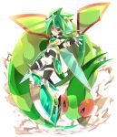 1boy armor black_gloves fingerless_gloves flygon gloves goggles green_armor green_eyes green_hair grey_pants looking_at_viewer outstretched_arm pants pokemon pokemon_(creature) rento_(rukeai) saikyou_ginga_ultimate_zero_~battle_spirits~ shirt solo white_background white_shirt zero_the_hurricane