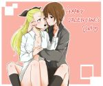 2girls arm_grab assam bangs black_legwear black_skirt blonde_hair blue_eyes breast_grab brown_eyes brown_hair chocolate commentary_request dress_shirt english food_in_mouth girls_und_panzer grabbing grey_shirt hair_pulled_back hair_ribbon hand_in_hair happy_valentine imminent_kiss kuromorimine_school_uniform long_hair long_sleeves mouth_hold multiple_girls naked_shirt nishizumi_maho offering open_clothes open_shirt outside_border pink_background ribbon school_uniform shirt short_hair sitting skirt socks straddling white_shirt wing_collar yuri yuuhi_(arcadia)