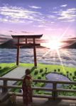 1girl 2018 absurdres brown_hair chinese_zodiac clouds dog highres japanese_clothes kimono looking_away onita original outdoors pond railing scenery short_hair sky sunset torii year_of_the_dog