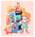 1boy 2girls absurdres alternate_costume arcade_cabinet arm_rest baseball_cap blonde_hair blue_eyes bob-omb bomb casual character_request closed_eyes closed_mouth company_name contemporary crown cup drinking drinking_straw eyebrows_visible_through_hair facial_hair fairy_wings full_body game_boy game_boy_advance_sp hand_up handheld_game_console hat heart highres holding holding_cup hoshi_no_kirby kirby kirby_(series) long_sleeves looking_at_another luigi mario mario_(series) multiple_girls mustache nintendo nintendo_ds overalls pink_hair ponytail poster_(object) princess_peach ribbon_(kirby) riu-sen shoes shorts sitting smile sneakers standing sweater wings
