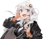 1girl :d absurdres black_dress black_jacket blue_eyes bob_(biyonbiyon) bracelet braid breasts cleavage commentary_request dress eyes grey_hair hair_ornament hand_up headphones highres jacket jewelry kizuna_akari large_breasts long_hair long_sleeves microphone open_clothes open_jacket open_mouth simple_background sleeves_past_wrists smile solo upper_body vocaloid white_background