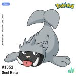 alejandro_urbina character_name creature full_body logo looking_at_viewer no_humans number pokemon pokemon_(creature) pokemon_rgby_beta seal seel solo tongue tongue_out unnamed_seal_(pokemon_rgby_beta) watermark web_address