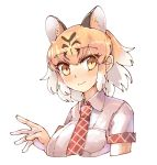 1girl animal_ears animal_print blush collared_shirt eyebrows_visible_through_hair highres kemono_friends multicolored_hair necktie omnisucker orange_hair plaid_neckwear plaid_trim shirt short_hair short_sleeves tiger_(kemono_friends) tiger_ears tiger_print upper_body white_hair