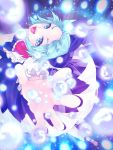 1girl :d ascot bangs black_footwear blue_bow blue_eyes blue_hair bow cirno clumeal danmaku dress eyelashes fairy fingernails hair_bow highres ice ice_wings nail_polish open_mouth outstretched_arms puffy_short_sleeves puffy_sleeves purple_nails red_neckwear shoes short_hair short_sleeves smile snowflakes socks solo teeth tongue touhou white_legwear wings