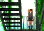 2girls backlighting black_footwear black_legwear black_skirt commentary_request day dress_shirt from_side girls_und_panzer grey_shirt hand_on_another's_shoulder hand_on_railing imminent_kiss itsumi_erika kuromorimine_school_uniform loafers long_hair long_sleeves miniskirt multiple_girls nishizumi_maho outdoors plant pleated_skirt railing school_uniform shirt shoes short_hair skirt sky socks stairs stairwell vines yuri yuuhi_(arcadia)