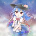 1girl bangs blue_hair blue_skirt bow chibi clouds dress food fruit gradient_hair hair_between_eyes hat hinanawi_tenshi layered_dress leaf long_hair looking_at_viewer multicolored_hair nebula open_mouth peach puffy_short_sleeves puffy_sleeves red_bow red_eyes red_neckwear shirt short_sleeves skirt skirt_basket skirt_hold sky solo star_(sky) starry_sky touhou upper_teeth usadon_(user_aprt3888) very_long_hair white_shirt