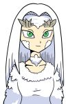 1girl closed_mouth collarbone dark_souls dragon_girl dragon_horns dress green_eyes horns parody priscilla_the_crossbreed setz simple_background smile solo souls_(from_software) straight_hair style_parody toriyama_akira_(style) upper_body white_background white_dress white_hair