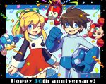 1boy 1girl anniversary beat_(rockman) bird blonde_hair blue_eyes blush brown_hair confetti dated dog eddie_(rockman) eyebrows_visible_through_hair flower green_eyes green_ribbon hair_ribbon iroyopon looking_at_viewer one_eye_closed open_mouth ribbon rockman rockman_(character) rockman_(classic) roll rush_(rockman) short_hair short_ponytail signature smile streamers