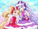 2girls :d aisaki_emiru bangs bare_shoulders beamed_sixteenth_notes blunt_bangs bow bowtie commentary_request cure_amour cure_macherie double_bun dress drill_hair earrings eighth_note frilled_dress frills gloves gradient gradient_background gradient_eyes hand_holding headdress heart hugtto!_precure jewelry long_hair looking_at_another magical_girl multicolored multicolored_eyes multiple_girls musical_note open_mouth pointing pointing_up precure puffy_short_sleeves puffy_sleeves purple_hair rainbow ruru_amour short_sleeves signature smile sparkle treble_clef twin_drills upper_body uta_(yagashiro25) very_long_hair violet_eyes white_gloves