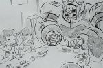 1boy 4girls :d =_= blush_stickers bowl chopsticks closed_eyes cup eating faceless family greyscale hair_ornament hijikata_etsuo holding holding_bowl holding_chopsticks hugtto!_precure long_hair low_twintails lulu_(precure) mechanization monochrome multiple_girls nono_hana nono_kotori nono_shintarou nono_sumire open_mouth out_of_frame precure rice rice_bowl sitting smile spoilers sweatdrop table twintails