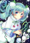 1girl aqua_hair bangs blue_eyes blush capelet earrings flower fur-trimmed_capelet fur_trim green_neckwear hair_flower hair_ornament hairband hatsune_miku hina_(milk_ti_leaf) holding holding_flower jewelry lily_of_the_valley long_hair long_sleeves looking_at_viewer neck_ribbon rabbit ribbon skirt smile snowflake_print snowing solo treble_clef twintails vocaloid white_flower yuki_miku