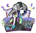 1girl baseball_cap black_shirt character_name dedf1sh green_skin grey_hat hat headphones hekoningyou_(waraningyou) octarian off_shoulder profile purple_hair shirt short_hair_with_long_locks simple_background solo speaker splatoon splatoon_2 sunglasses t-shirt tentacle_hair white_background